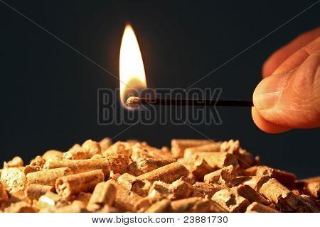 Closeup en pellets de madera con llama de fuego de inicio