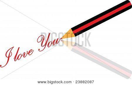 Pen write I love you vector