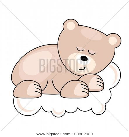 Small pink pretty bear sleeping on a cloud