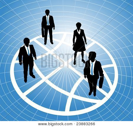 Group of business people stand on a sectors or zones of a world globe symbol grid