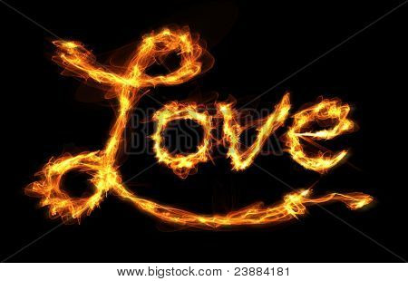 The word Love created with letters of fire