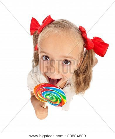 Little Girl With Large Lollipop