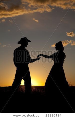 Cowboy Couple Silhouette Almost Touch