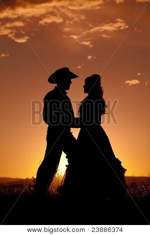 Cowboy Couple Silhouette In Love
