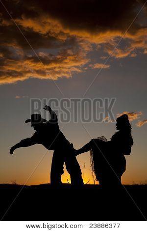 Cowboy Couple Silhouette Kick