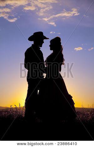 Cowboy Couple Silhouette Love