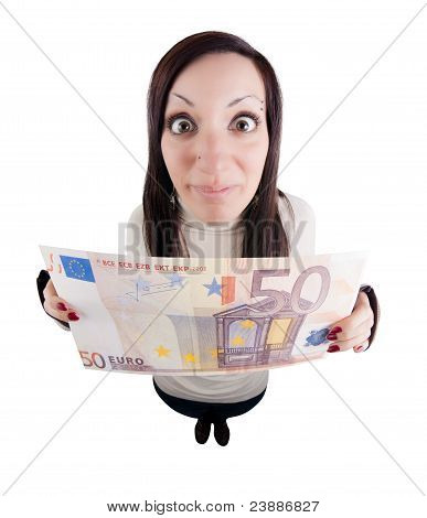 Girl Holding Giant Euro Note