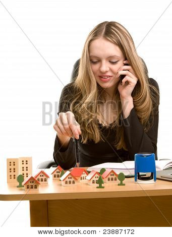 Young Businesswoman Writing In Notebook