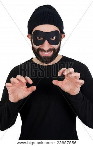 Ladrão em linha reta olhando para câmera