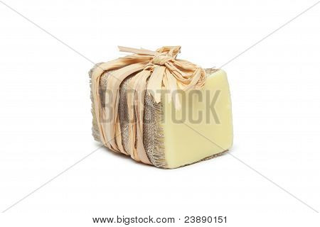 Wrapped Handmade Soap Isolated Over White Background