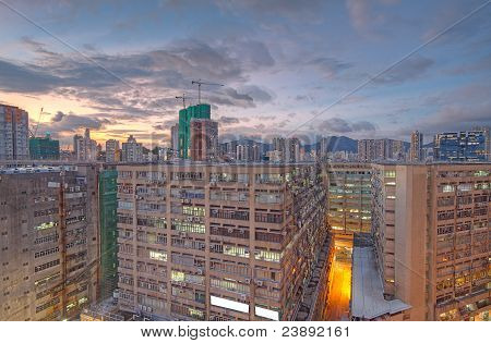 Downtown City And Old Building
