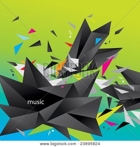 Abstract Figure Of Black Triangles Surrounded Flying Splinters And Notes