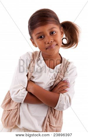 Cute Little African Asian Girl  Isolated On White Background