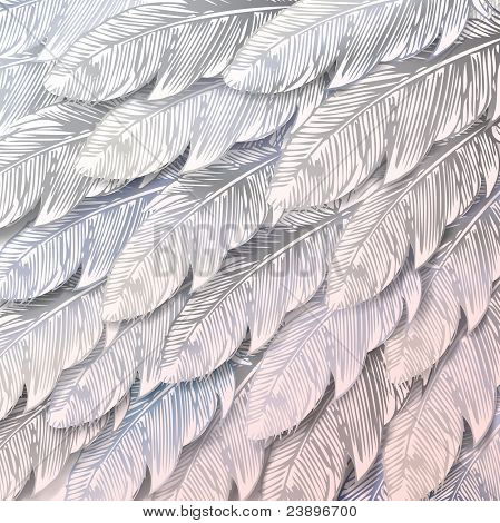 Seamless Background Of White Feathers, Close Up