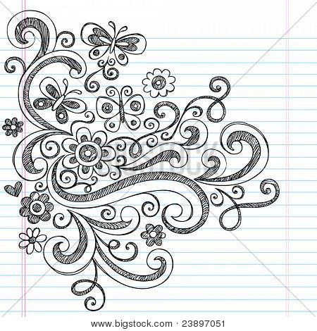 Flowers, Butterflies, and Swirls Sketchy Back to School Style Notebook Doodles Vector Illustration Design Elements on Lined Sketchbook Paper Background