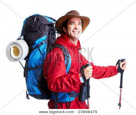 Hiker tourist man . Hiking. Isolated over white background.