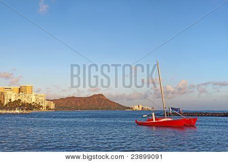Sailboat, Waikiki Beach And Diamond Head