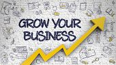 Grow Your Business - Modern Line Style Illustration With Doodle Design Elements. Grow Your Business  poster
