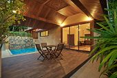 foto of villa  - panoramic view of nice summer house patio with swimming pool - JPG