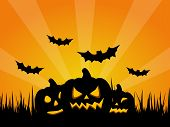 stock photo of jack-o-laterns-jack-o-latern  - Spooky Halloween Background with Pumpkins and Bats - JPG