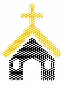 Halftone Hexagonal Christian Church Icon. Pictogram On A White Background. Vector Collage Of Christi poster