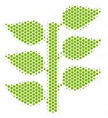 Halftone Hexagon Flora Plant Icon. Pictogram On A White Background. Vector Mosaic Of Flora Plant Ico poster