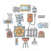 Heat Cool Air Flow Tools Icons Set. Cartoon Illustration Of 16 Heat Cool Air Flow Tools Vector Icons poster