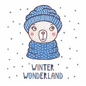 Hand Drawn Vector Portrait Of A Cute Funny Bear In A Warm Knitted Hat, Text Winter Wonderland. Isola poster