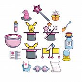 Magic Trick Icons Set. Cartoon Illustration Of 16 Magic Trick, Vector Icons For Web poster