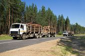 picture of logging truck  - Two cars loaded with wood going down hill - JPG