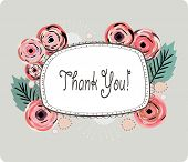 image of thank you  - Floral background with a white editable banner for your text - JPG