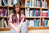 Student Sitting Against Shelves