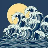 Wave Vector Illustration Japanese Motif. Japan Background. Hand Drawn Illustration Of Japan. Sea Wav poster