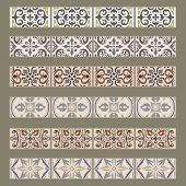 Vector Set Of Decorative Tile Borders. Collection Of Ornaments For Ceramic Tile. Portuguese Azulejos poster
