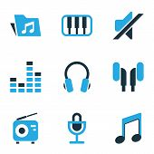 Audio Icons Colored Set With Tuner, Music, Earphone And Other Mixer Elements. Isolated Vector Illust poster