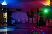 stock photo of wedding feast  - Disco in banqueting hall - JPG