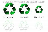 The R's To Save The Mother Nature With The Recycling Symbol On A White Back Ground I.e. Reuse, Reduc poster