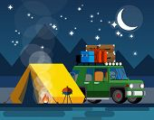 Camping. Car With A Tent And Bonfire In The Evening In A Flat Style. The Concept Of Camping And Outd poster
