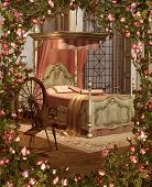stock photo of climbing rose  - A pink bedroom with spinning wheel surrounded by roses - JPG