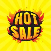 Hot Sale Burning Labels Discount And Tags For Hot Sale. Banner. Marketing. Business. Percent. On Yel poster
