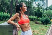 Slim Fitness Brunette Woman With Six Pack Abs Wearing Pink Sport Bra Standing In City Park Relaxing  poster