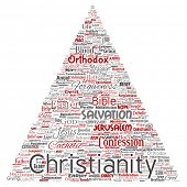 Conceptual christianity, jesus, bible, testament triangle arrow red  word cloud isolated background. poster