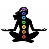 Illustration - Set Of Chakras On The Theme Of Meditation And Yoga. poster