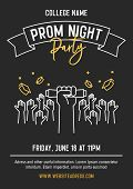 Prom Night Party Invitation Card With Hands Raised Throwing Academic Hats Up And Showing Diplomas. V poster