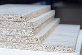 Mdf, Particle Board. Wood Panels Of Different Thicknesses And Colors. Furniture Fittings For Furnitu poster