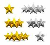 Five Star Rating. Different Rows Of One, Three And Five Stars. Gold Embossed And Silver Stars On Whi poster