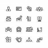 Head Hunting, Professional People Management Line Icons. Search For Employees, Job And Career Outlin poster