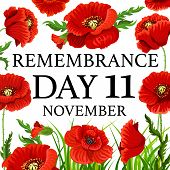 11 November Poppy Day Greeting Card For Remembrance Day In Commonwealth. Vector Red Poppy Flowers Fo poster