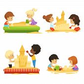 Summer Time. Kids Playing On Beach With Sand. Vector Kids Build Castle, Play In Sand Beach Illustrat poster