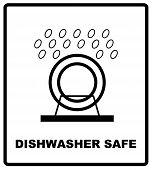 Dishwasher Safe Symbol Isolated. Dishwasher Safe Sign Isolated,  Illustration. Symbol For Use In Pac poster